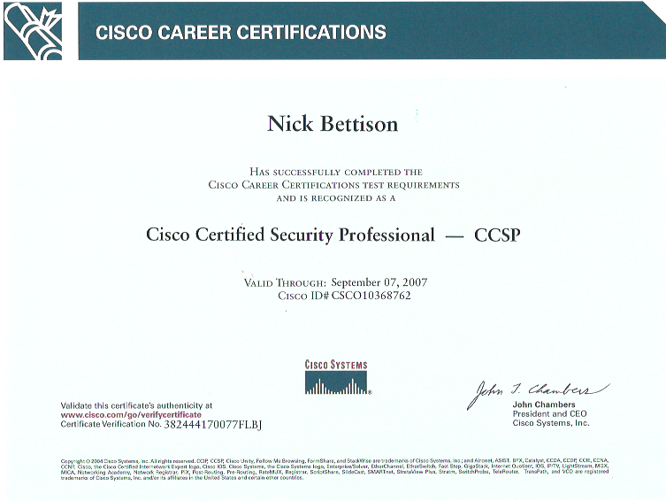 Cisco Certified Security Professional (CCSP) | Nick Bettison LINICKX.com