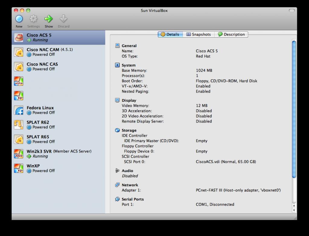 Cisco ACS 5 1 in VirtualBox | Nick Bettison LINICKX com