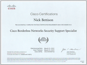 Cisco Borderless Networks Security Support Specialist