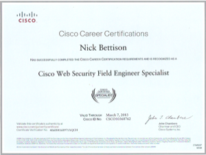 Cisco Web Security Field Engineer Specialist