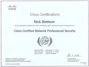 Cisco Certificate Network Professional Security