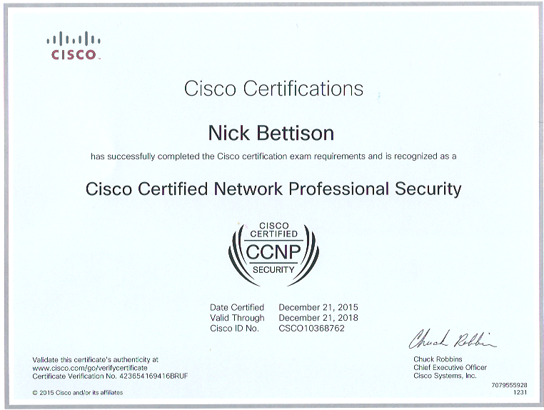 cisco ccnp security | nick bettison linickx
